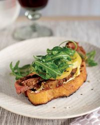 Open-Face Steak Sandwich with Pickled Green Tomatoes Recipe from Food & Wine - Don't balk, I'm no meat eater, but I could make this with some tofu, seitan or even tempeh & I could see it being DELISH!
