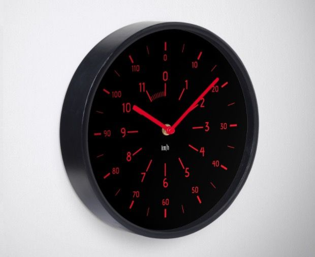 Car speedometer look a like wall clock. Black and Red.  #clock #wallclock #speedometer #illustration #redbubble #car #instrumentpanel