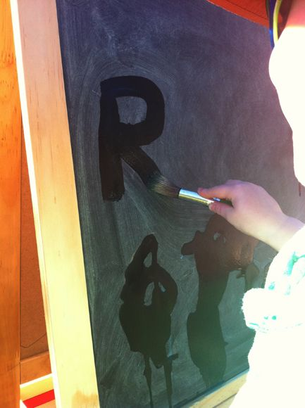 """Painting with Water on a Chalkboard - Great idea! Also suggested by """"Handwriting without Tears"""" program. If you do not have chalkboards, get the chalkboard paint from Home Depot  or Lowes, or Chalkboard fabric. Kids will love painting with water. Practice letter formation, recognition, and grip and fine-motor skills! from http://lifeatthezoo.com/2012/06/abc-for-preschoolers"""