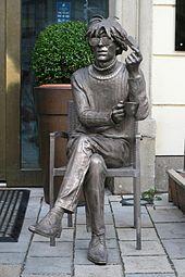 Statue of Andy Warhol in Bratislava, Slovakia.