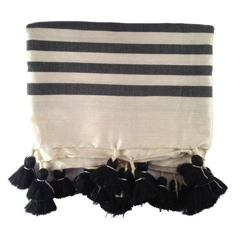Mono Stripe Cotton Pom Pom Blanket