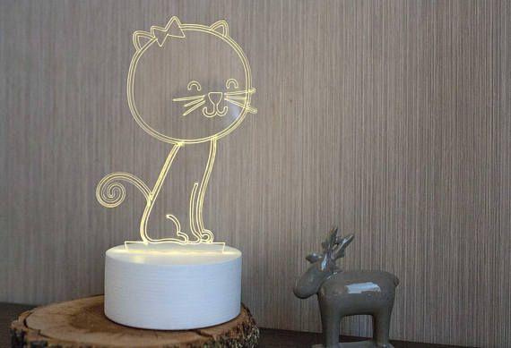 Cat Night light Cat lamp Cat decor Desk night light Baby room