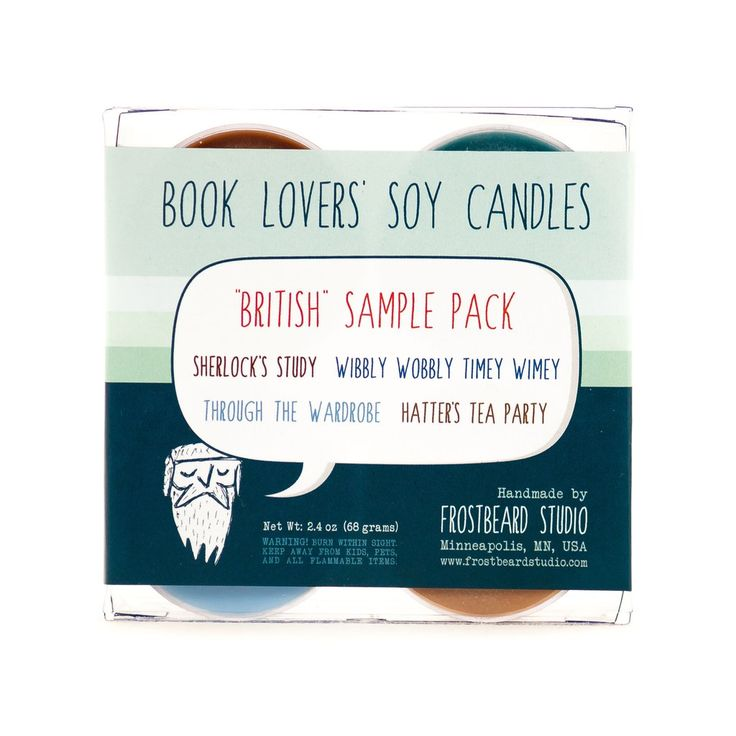 British soy candle sample pack label view