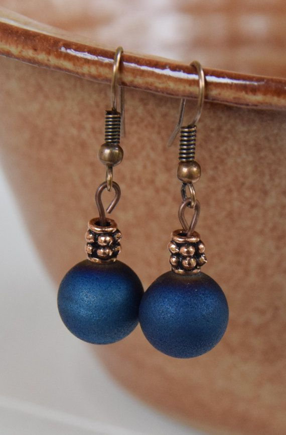 Antique Copper and Navy Blue Druzy Agate Gemstone Dangle Earrings.  10mm Blue Druzy Agate and Antique Copper Spacer Beads.  1.5 inches long.