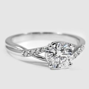 18K White Gold Chamise Diamond Ring – Set with 0.95 Carat, Round, Super Ideal Cu…