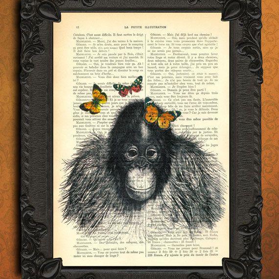 Baby Orang Oetan print - vlinders boekpagina - aap illustratie