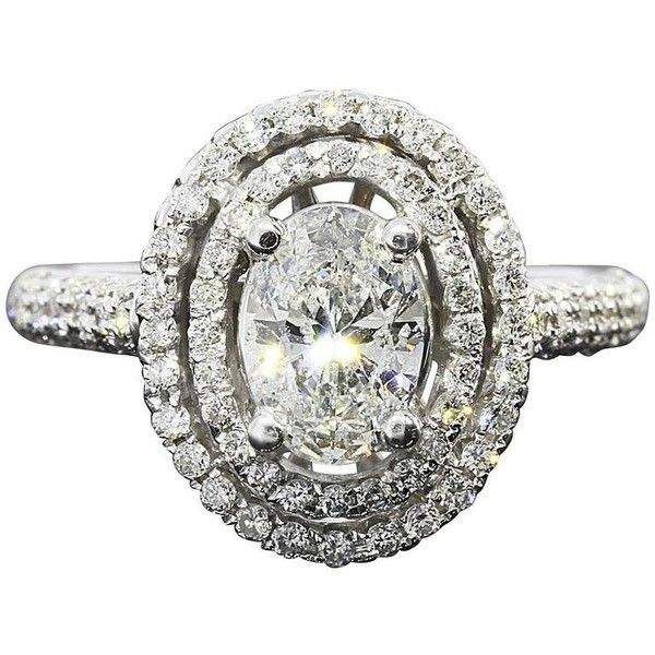 Preowned Stunning Oval Brilliant Diamond Double Halo Engagement Ring ($3,650) ❤ liked on Polyvore featuring jewelry, rings, engagement rings, multiple, 18k diamond ring, oval cut diamond ring, oval stone ring, oval ring and pre owned engagement rings