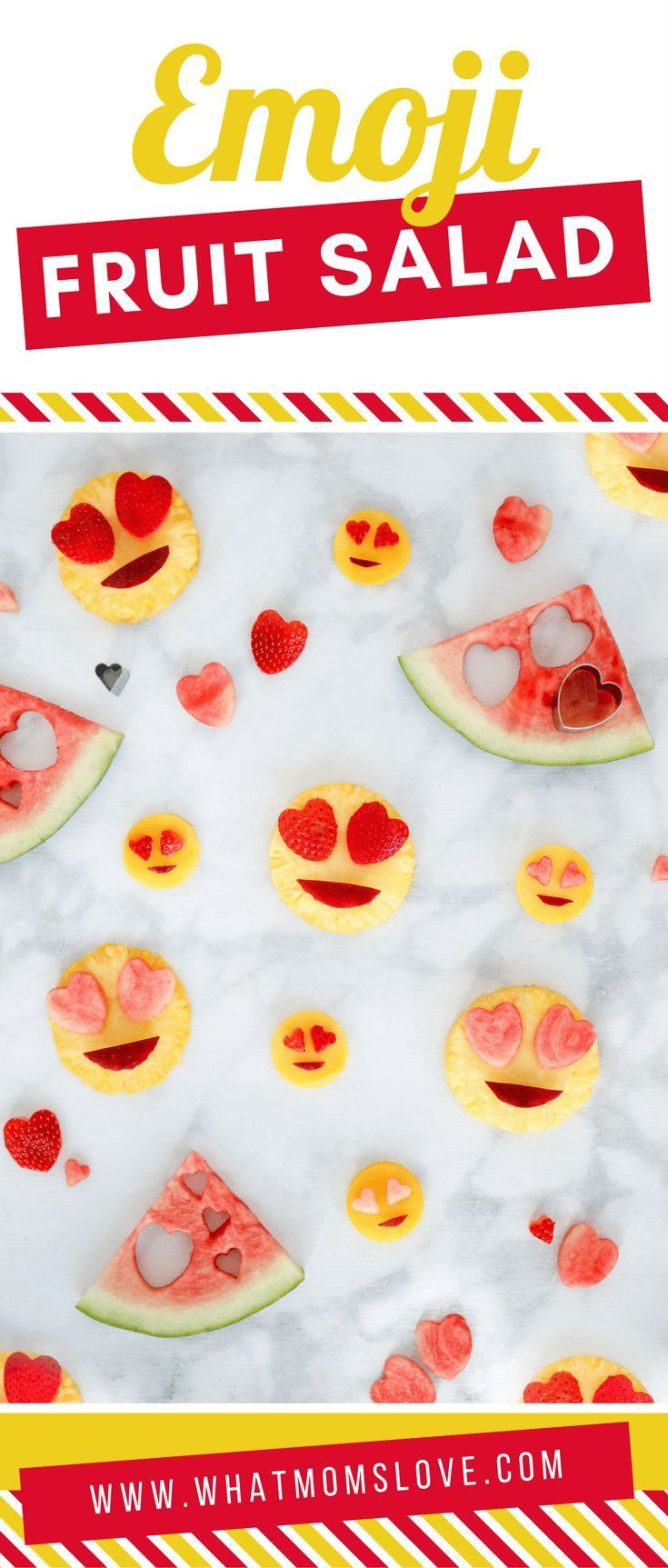Emoji Party Ideas | Fun DIY food for an Emoji themed birthday party or a simple, no candy healthy Valentines Day snack for kids | Valentines day food ideas for clean eating families - great for school instead of a sweet treat, simply use heart shape cookie cutters and fruit!