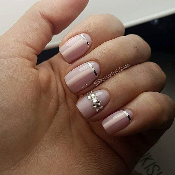 Beige dress nails, Beige nails with rhinestones, Body nails, Calm nails design, Cool nails, Fall nail ideas, Ideas of gentle nails, Nail art stripes