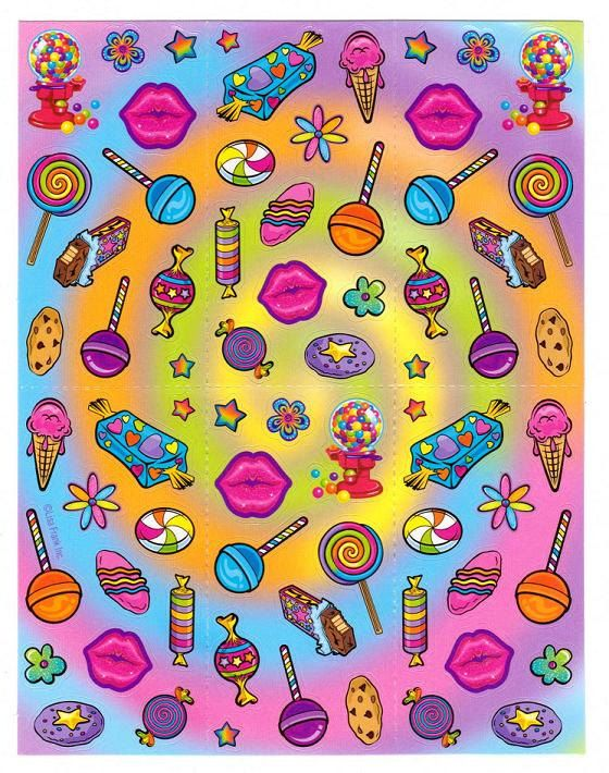 Lisa Frank Sweets Candy Shop Sticker Sheet