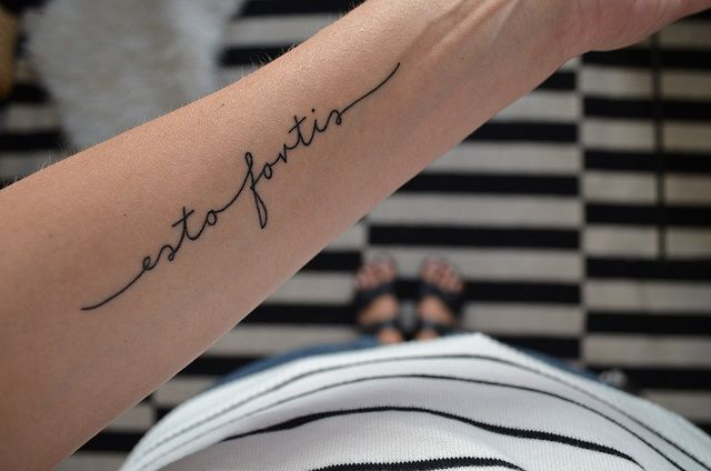latin script forearm tattoo | designed by Kate Wirth, tattooed by Ela Pour at Pech und Schwefel, Berlin