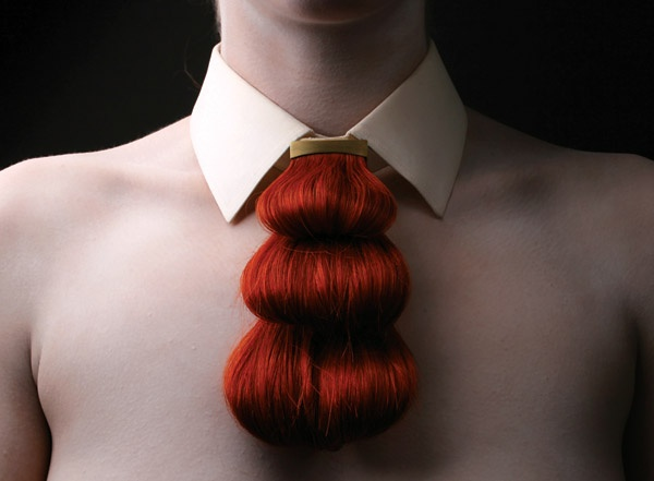 """Untitled (""""a hairy tale""""), Nina Khazani, Human hair, gold-plated brass and linen - Royal College of Art 2012 dregree show"""