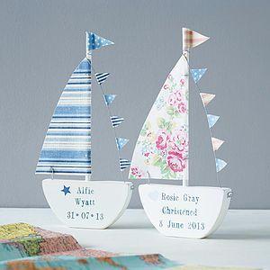 Personalised Sailing Boat Keepsake - personalised new baby gifts
