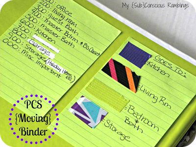 The PCS Binder- Stay Organized During Your Move! - My {Sub}Conscious Ramblings Love the packing tape labeling system