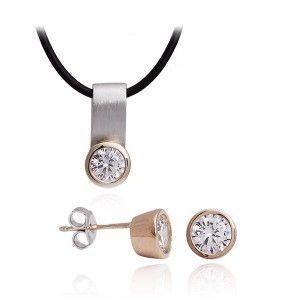 Piękny komplet biżuterii srebrnej pozłacanej