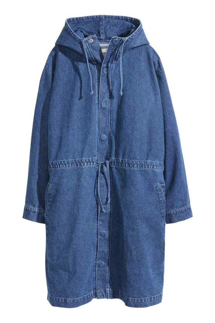 Denim parka: Oversized parka in washed denim with a drawstring hood, concealed press-studs down the front, a drawstring at the waist, a side pocket, front patch pocket, handwarmer pocket at the top and buttons at the cuffs. Unlined.