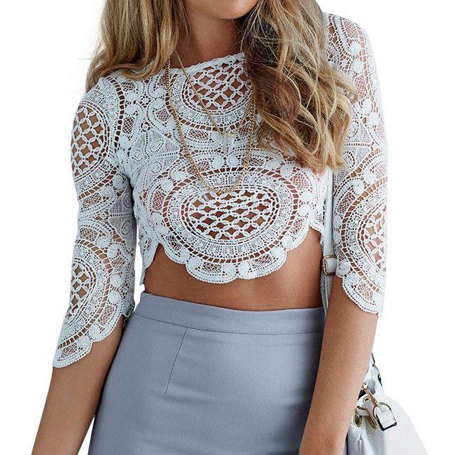 T-shirt Women Tops 2015 Lady Lace T shirt Top Eliacher Brand Plus Size Women Clothing Chic Elegant White Lady t shirt Tee Tops