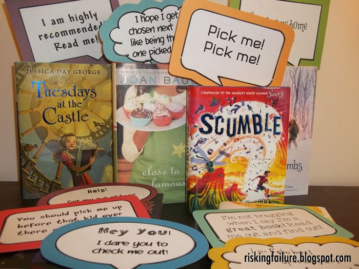 """Pick Me"" Shelf Talkers School library displays, Library"