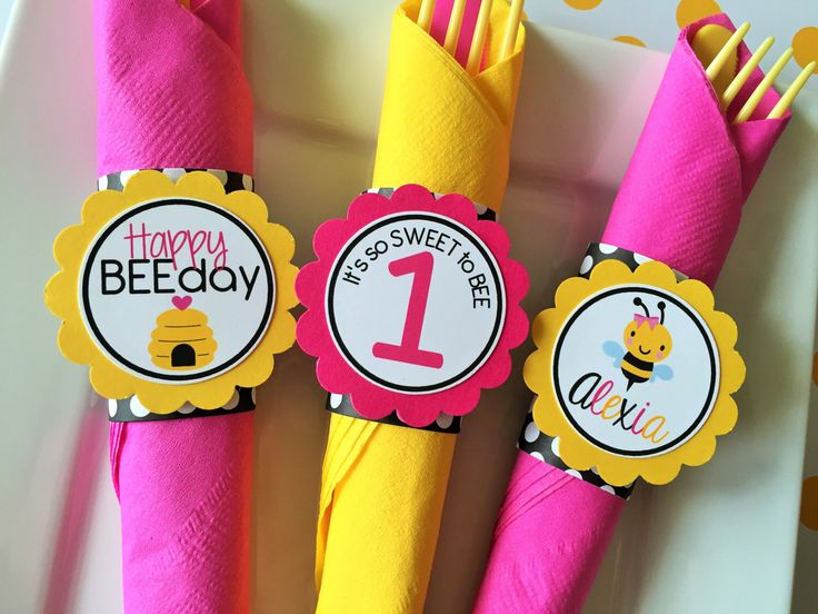 Bumble Bee Birthday Party Personalized Napkin Rings In Yellow Black And Pink