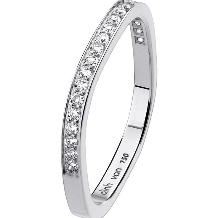 Alliance carrée 2mm - or blanc et diamants - Dinh Van