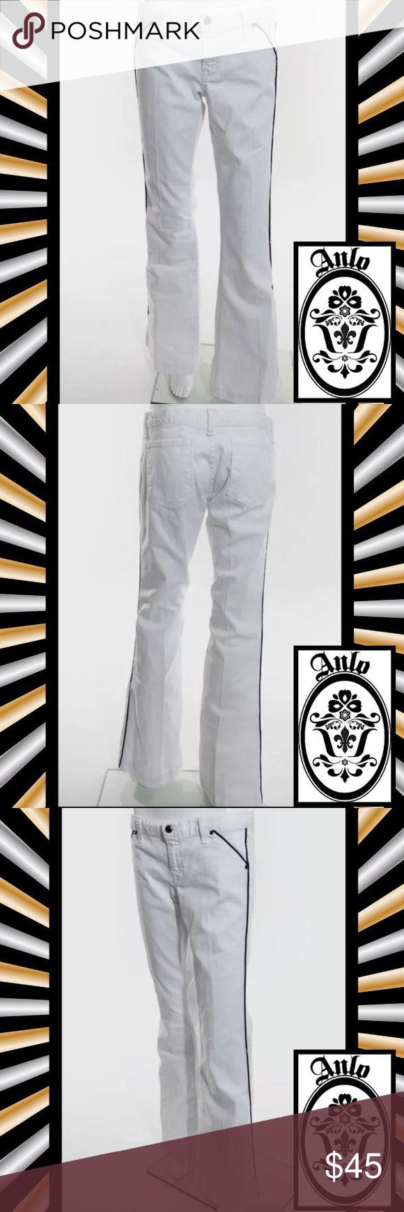 "ANLO Perfect White/Black Stripe Flare Leg Jeans SIZE 29. 41"" Length. 29"" Waist. 33"" Inseam. 97% Cotton/3% Lycra Blend. White Flare Leg Jeans w Black Piping Stripe On Sides. EUC WORN ONCE Anlo Jeans Flare & Wide Leg"