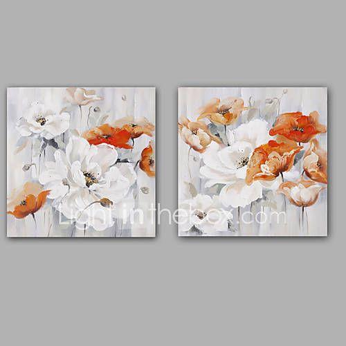 Pictat manual Abstract / Floral/Botanic Picturi de ulei,Modern / Clasic Două Panouri Canava Hang-pictate pictură în ulei For Pagina de 5421107 2017 – €105.53
