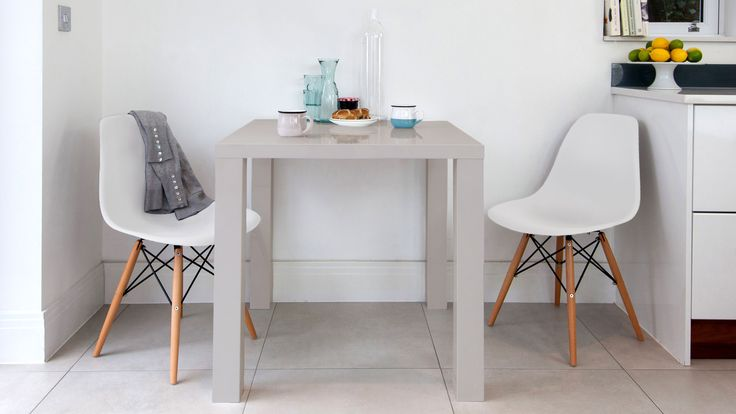 The Fern Grey Gloss Kitchen Table is our beautiful new addition to the Fern Collection. Partner it up with some Eames Style Dining Chairs and you have got yourself a stylish 2 seater dining set!