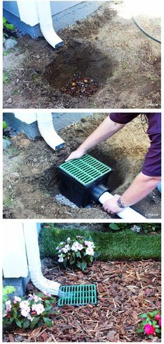 Catch basin for underground drainage - get rid of the unsightly and occasionally tripped over downspouts