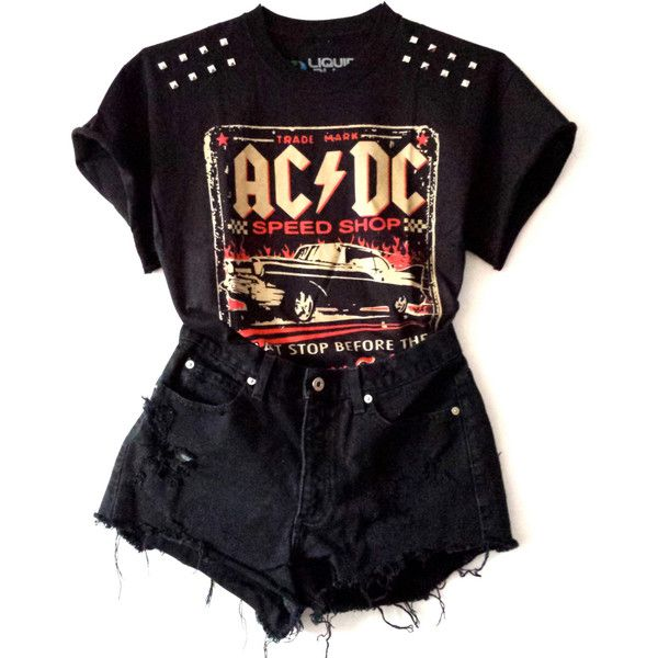 ACDC Studded Tee (€21) ❤ liked on Polyvore featuring tops, t-shirts, outfits, shirts, shorts, black crop shirt, black shirt, shirts & tops, black tee and t shirts