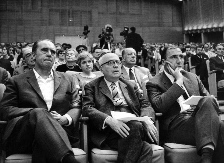 Fresh Der Schriftsteller Heinrich B ll von links der Soziologie Professor Theodor Adorno und