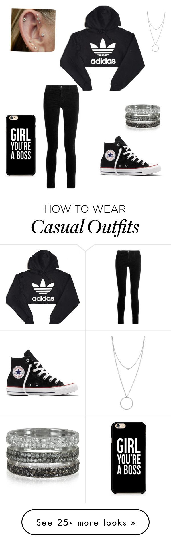 """Casual"" by steliana-1981 on Polyvore featuring J Brand, adidas, Converse, Bernard Delettrez and Botkier"