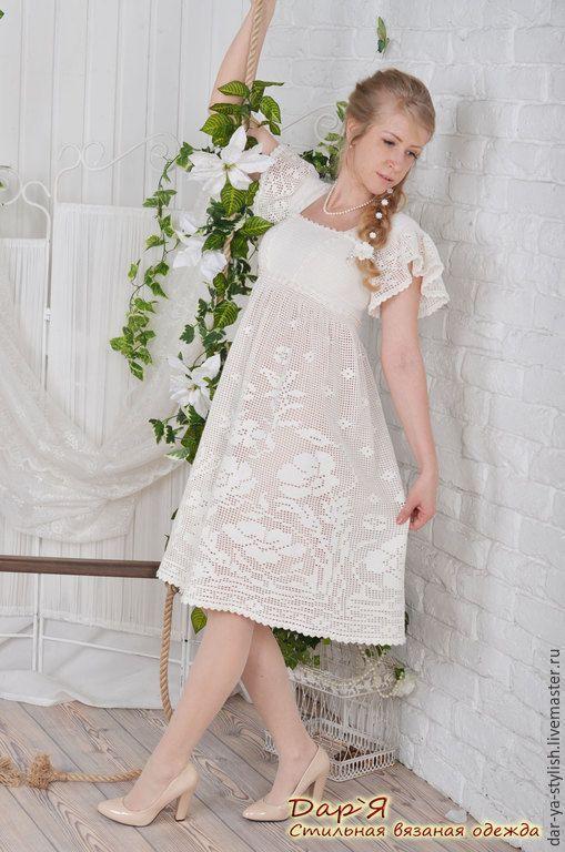 """Купить """"Леля"""" вязаное платье в деревенском стиле - платье, Платье нарядное, свадебное платье"""
