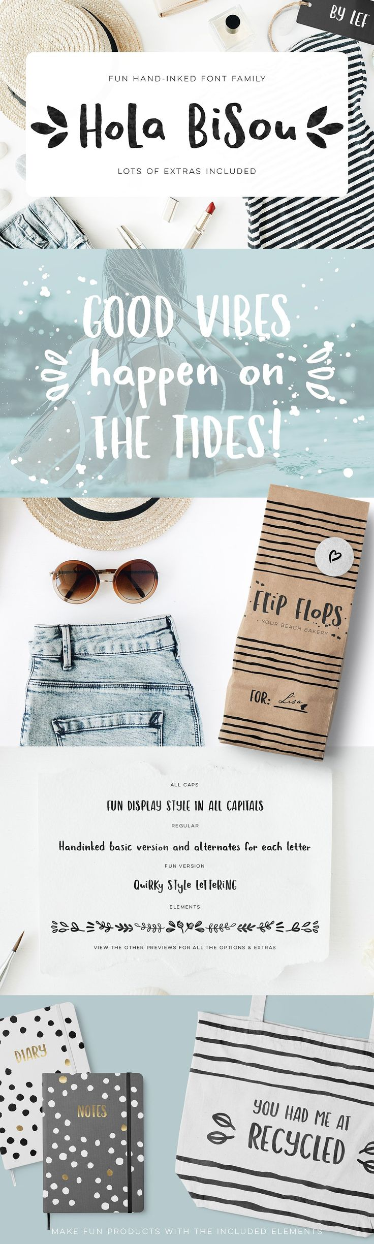 Hola Bisou is a hand written font that's quirky and fun and has a great summer vibes. Bonus elements too. Affiliate Link $16
