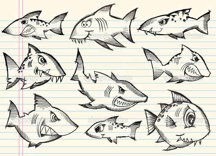 素描涂鸦鲨鱼矢量集 — 图库插图 #10246851
