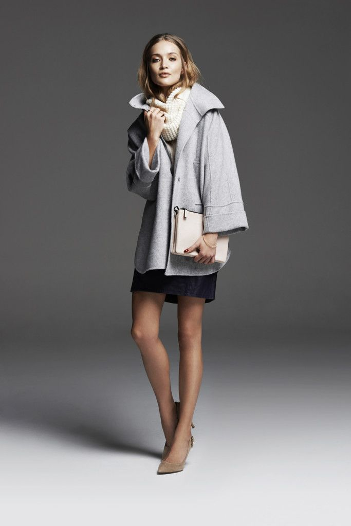 Grey weekend coat, cream snood, and brown suede heels