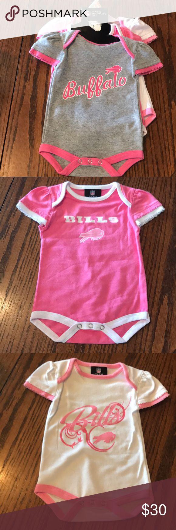NFL Buffalo Bills Set 3 Infant Outfits New Set of 3 Infant Outfits  Pink, Gray & White  NFL Buffalo Bills 0-3 Months Make me an offer NFL Buffalo Bills One Pieces Bodysuits