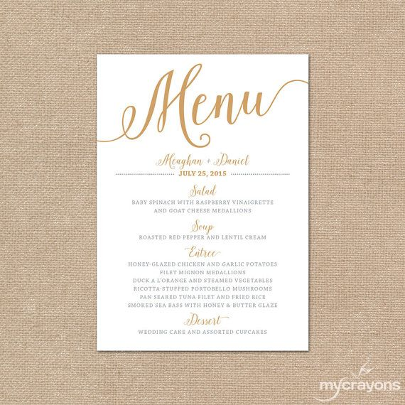 gold wedding menu cards wedding menu template gold printable menu