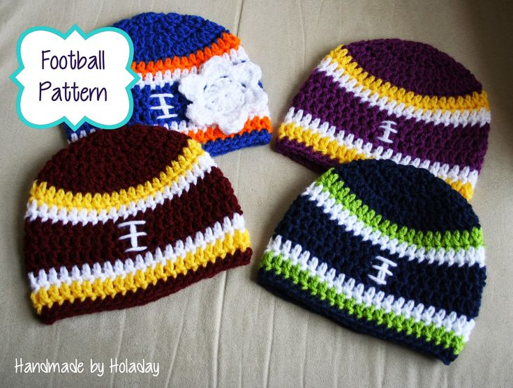 Handmade By Holaday: Crochet Football Beanie