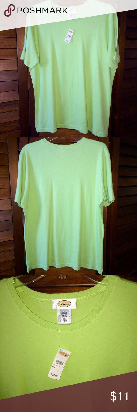 Talbots Soft Lime Green Round Top Large NWT Talbots Soft Lime Green Round Neck Cotton Top Shirt Large Short Sleeve NWT Talbots Tops Tees - Short Sleeve