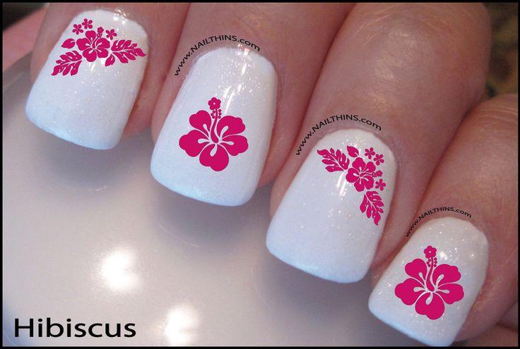 Hibiscus Nail Decals Hawaii Flower NAILTHINS Tropical Nail Designs