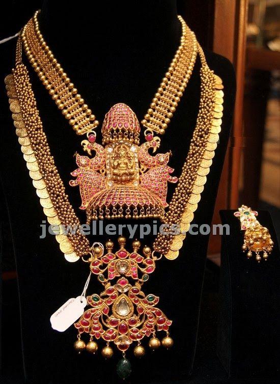 Tussi work kasulaperu design and huge pota ruby pendent set