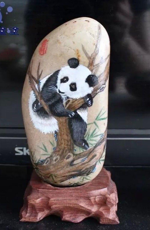 Panda Painted Rocks 60 Best Painted Stones Pandas Images On Pinterest Rock Rock Painting Patterns Panda Painting Rock Painting Art
