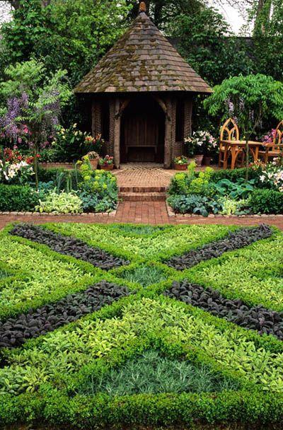 Herb knot garden with gazebo