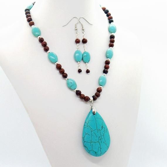 One of a kind natural gemstone beaded necklace /& earring set