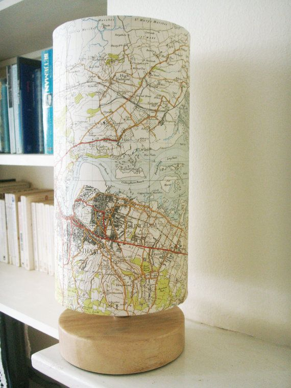 Vintage Map Lamp featuring Rochester and Chatham