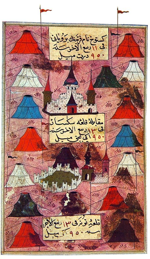 Turkish campaign in Hungary 1543 by Matrakçı Nasuh - Macaristan'da Türk otağlarından müteşekkil kamp.
