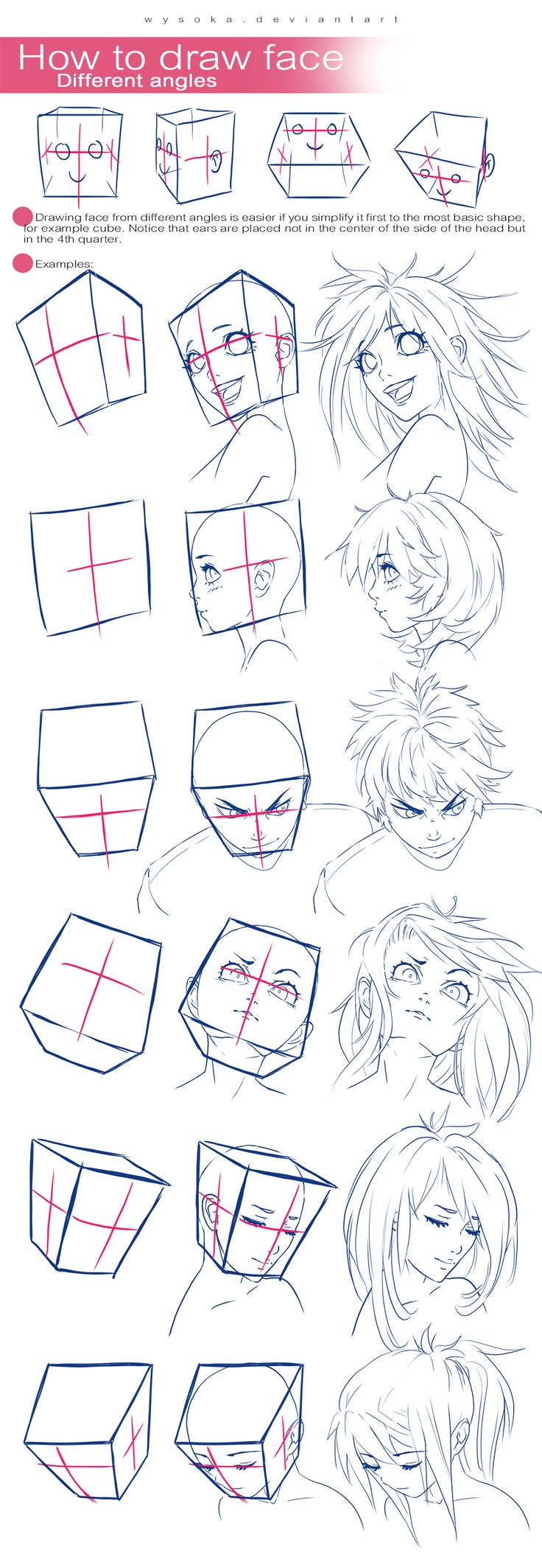 How To Draw Face - Different Angles by wysoka.deviantart.com on @DeviantArt