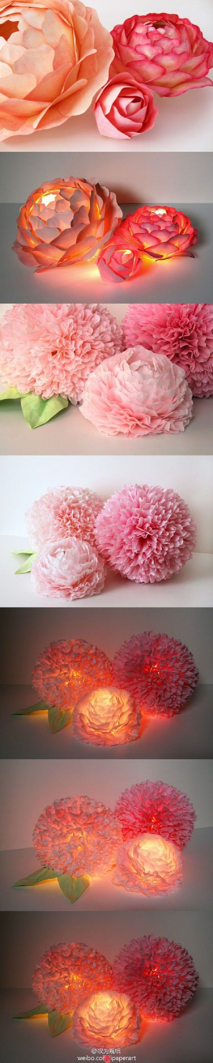 Paper Flower Centerpiece with LED Lighting - 17 Blossoming DIY Spring Decorating Tutorials | GleamItUp