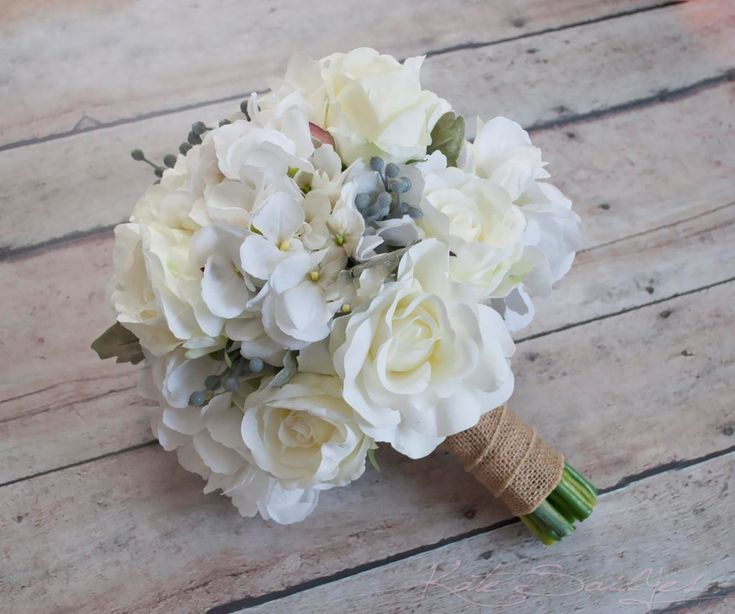 White Rose and Hydrangea Wedding Bouquet with Silver Brunia and Dusty Miller - available to order by Kate Said Yes Weddings