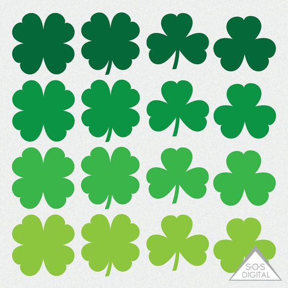 Shamrock Clipart, St. Pattys Day Clipart, St. Patricks Day, Clover Clipart, four Leaf Clover, 4 leaf clover, Small Commercial Use, PNG  ~ 16 PNG Files